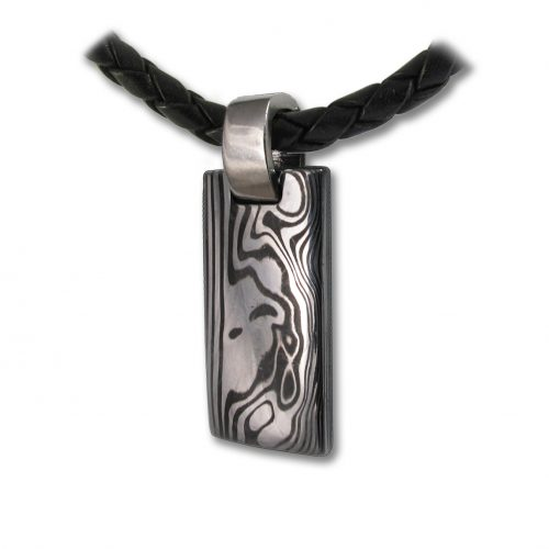 Ingot Damascus Steel Handcrafted Pendant from Rovaniemi in Finnish Lapland. Buy Damastikoru Jewelry from Nordic-Gift.com.
